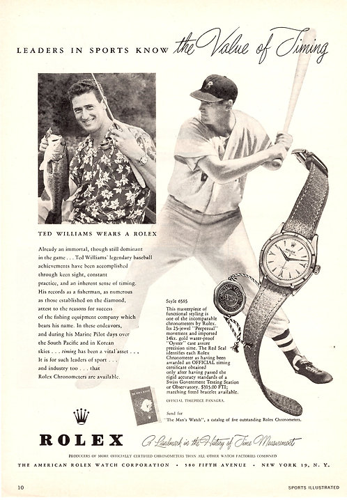 1955 Rolex Ted Williams Ad