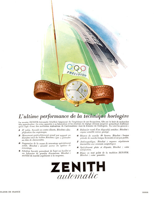1950 Zenith Olympic French Ad