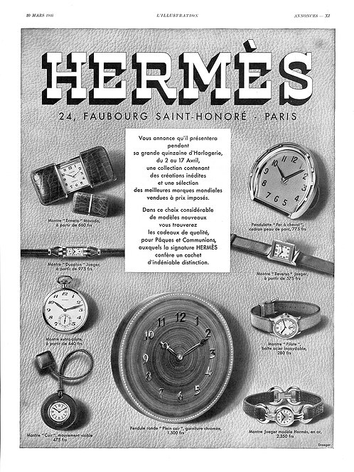 1935 Hermès Jaeger & Movado French Ad