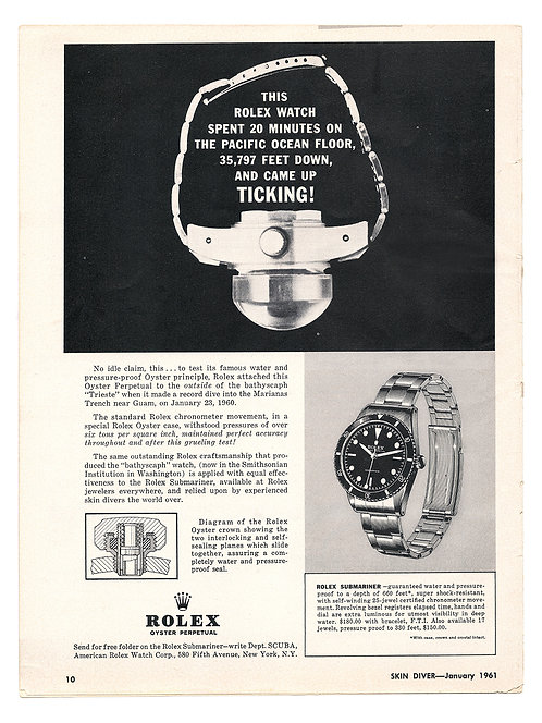 1961 Rolex Submariner Ad