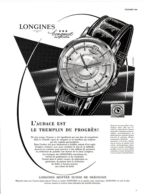 1959 Longines Conquest French Ad