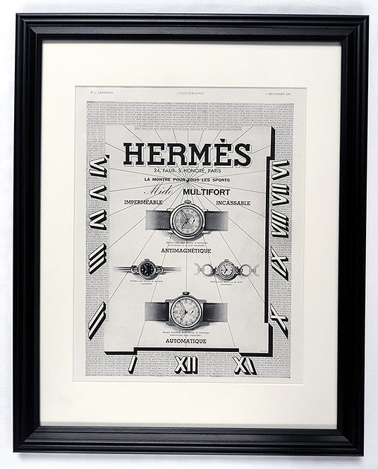 1937 Framed Hermes & Mido French Ad
