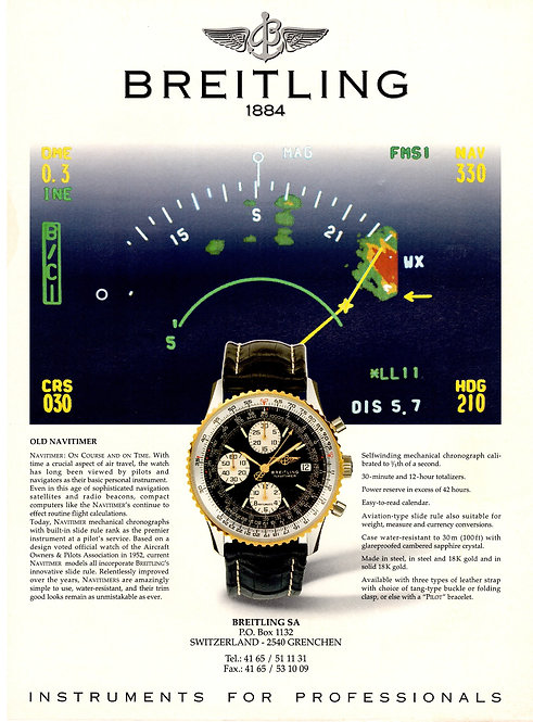 1995 Breitling Navitimer Watch Advertisement