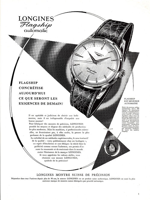 1959 Longines Flagship French Ad
