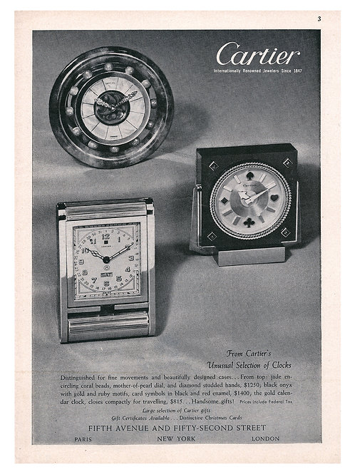 1949 Cartier Desk Clocks Ad