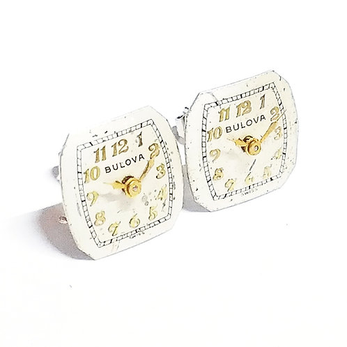 Bulova Watch Dial Stud Earrings