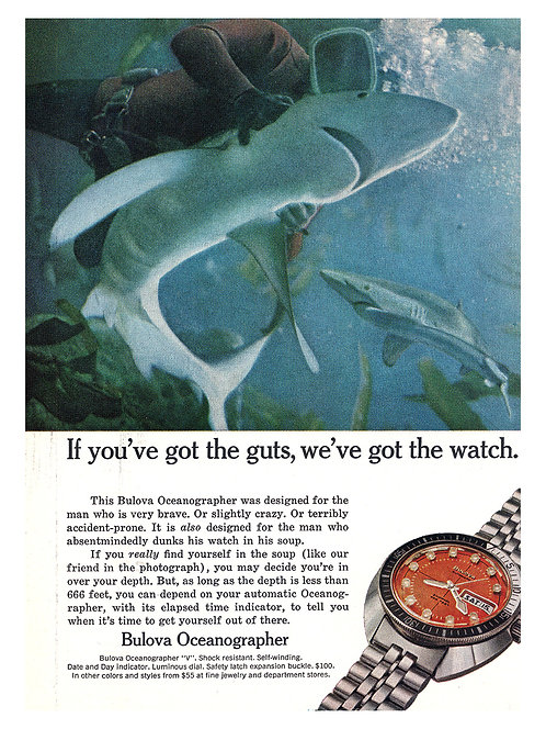 1972 Bulova Oceanographer Watch Advertisement with Sharks