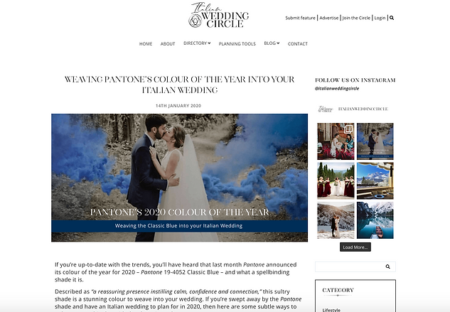 Italian Wedding Circle Pantone Blue