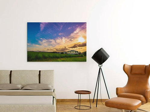 House in the Sugarcane Fields Photo   Clouds and the Sky   Canvas