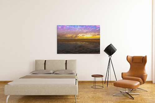 High Saturation   Deception Bay Sunset Low Tide Photo   Canvas