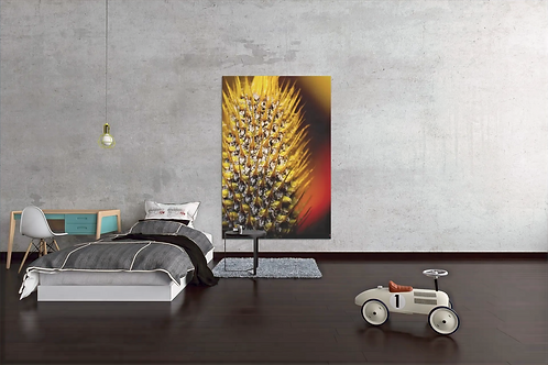 Extreme Saturation | Spiky Yellow Red Flower Photo | Canvas