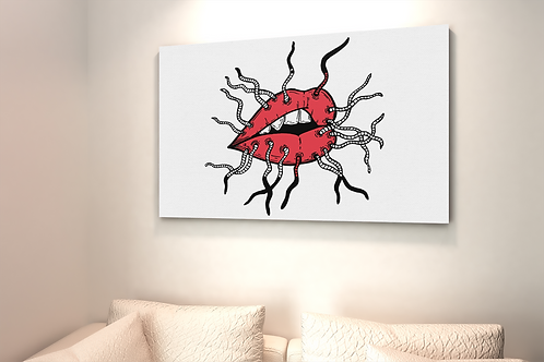 Red Lips and Gossip Drawing | Canvas