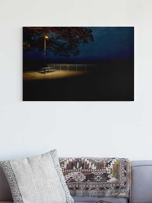 Beach Lonely Bench Night Time Light Photo | Canvas