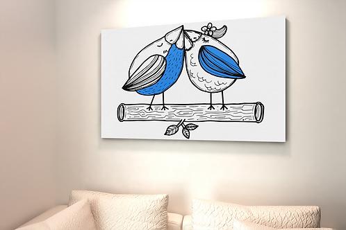 Blue Love Birds Pair Drawing   Canvas