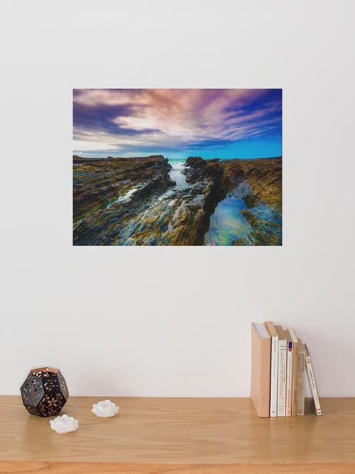 Blue Saturated Ocean Beach Rocks Photo   Waves Recede   Canvas