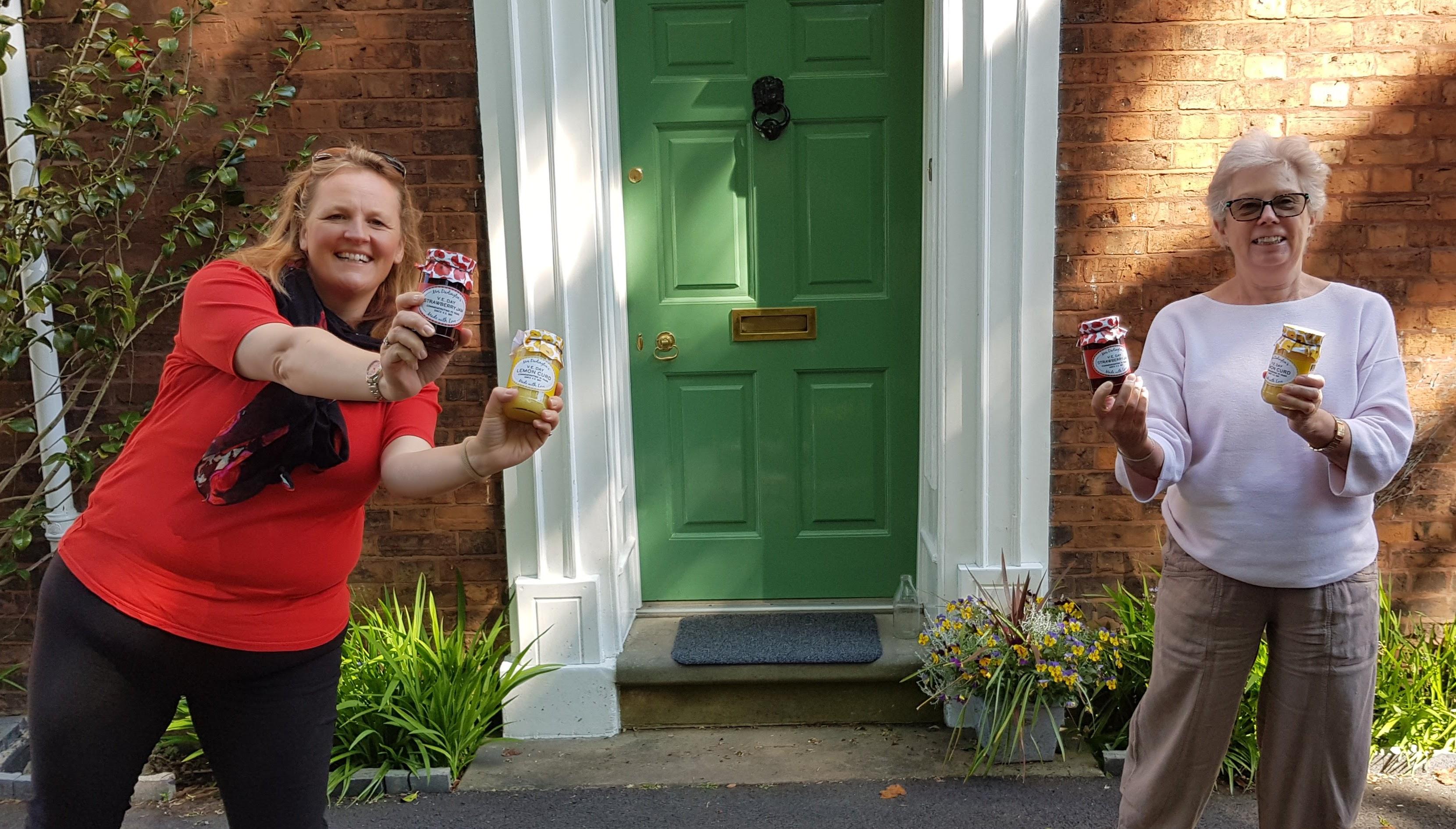 Liz and Clare distribute Mrs Darlington's