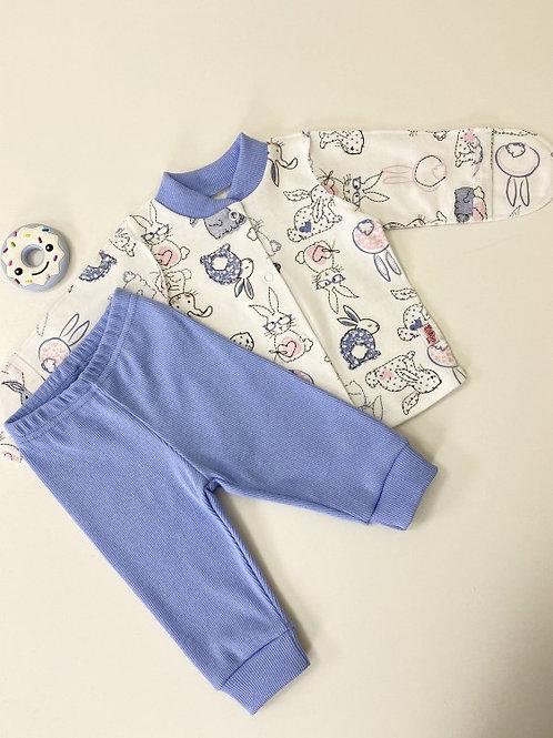 Комплект : кофточка на кнопках+штанишки на манжете