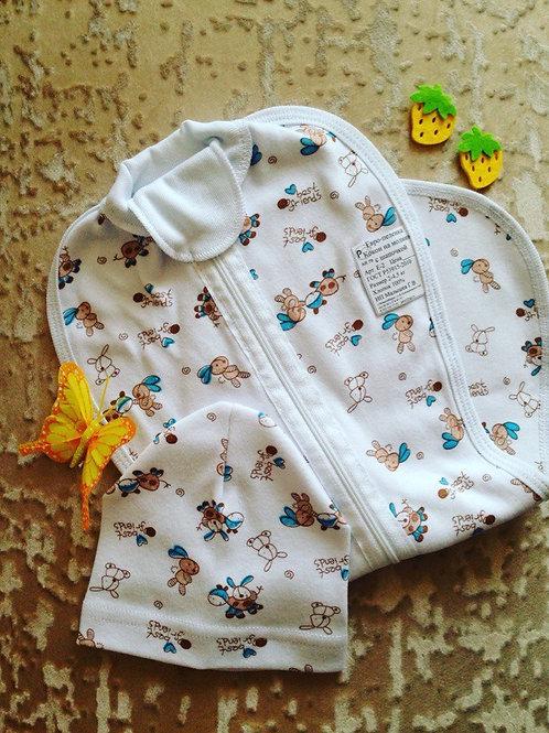 Пеленка-кокон ЗАЙКИ в комплекте с шапочкой для Малышей