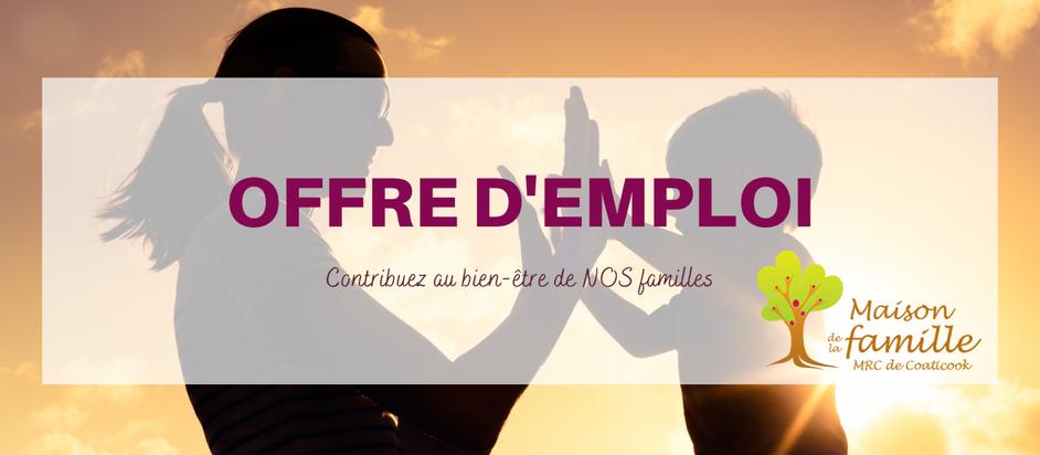 Offre d'emploi : Intervenant(e)-famille (volet mobilisation)