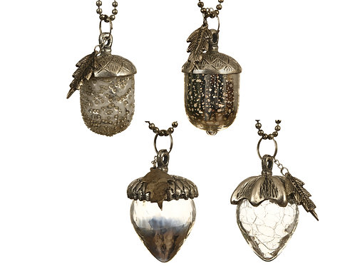 Acorn Baubles - set/4 assorted