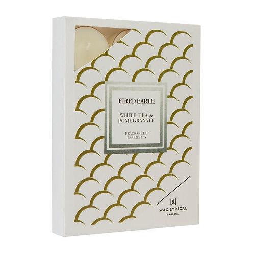 Fired Earth Tealights Pk/12  - White Tea & Pomegranate