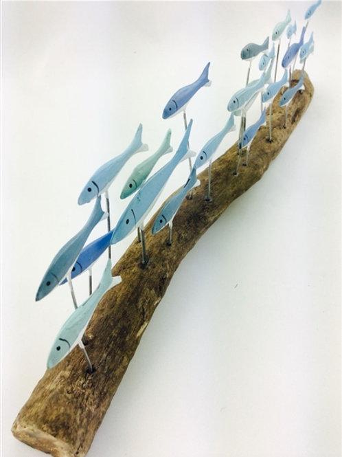 Shoeless Joe Blue Fish School on Driftwood