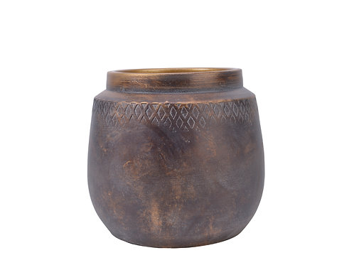 Terracotta Brown/Gold Planter