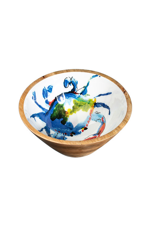 Shoeless Joe Wooden Bowl -Blue Crab
