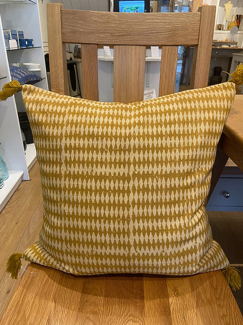 Block Print Tassel Cushion -Ochre