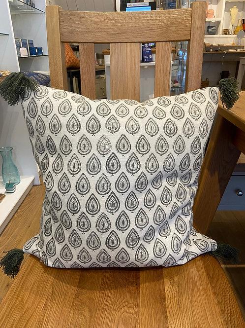 Paisley Tassel Cushion -Grey