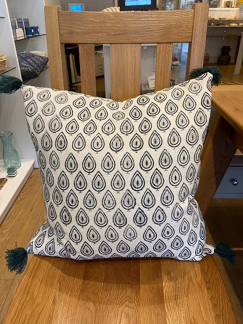Paisley Tassel Cushion -Dark Blue/Grey