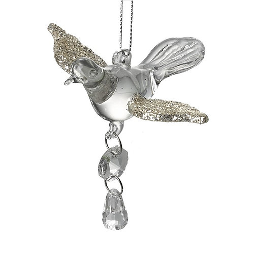 Hanging Glass Dove with Droplet
