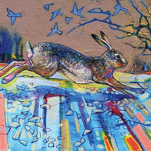 Dry Red Card -Winter Hare, Winter Birds