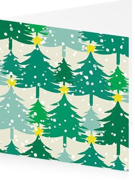 Art Press Christmas Card Pack/5 -Xmas Trees