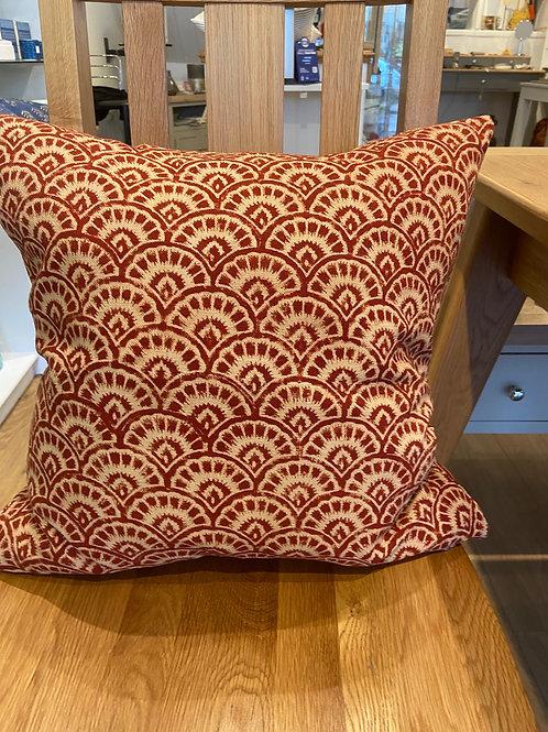 Block Print Cushion -Brick Red