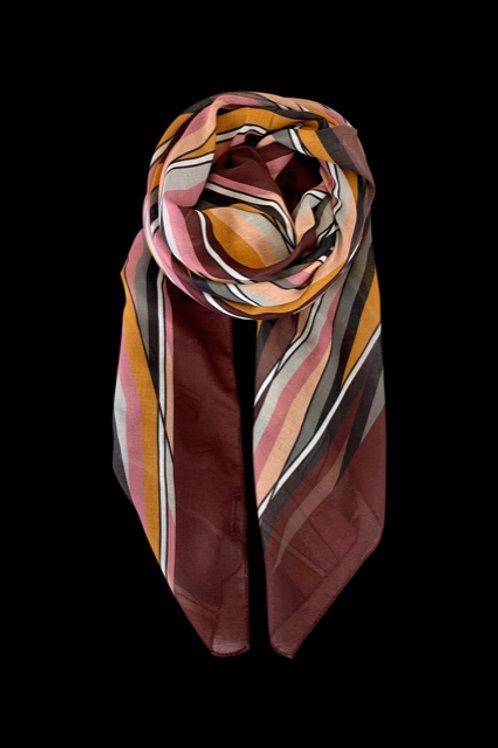 Scarf Tris -burgundy/multi