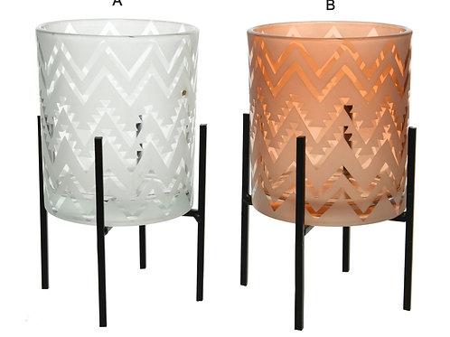 Glass tealight on metal stand