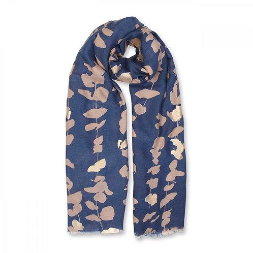 Katie Loxton Metallic Scarf Floral Vines Print -Navy