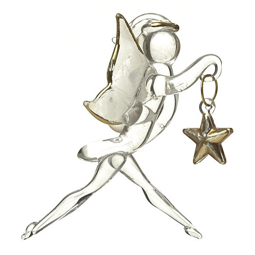 Hanging Glass Tinkerbell holding Gold Star