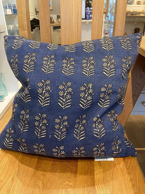 Block Print Cushion -Air Force Blue
