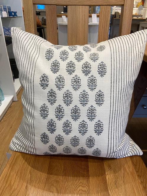 Stripy Print Cushion -Grey