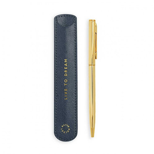 Katie Loxton Pen Sleeve with Gold Pen - Metallic Navy