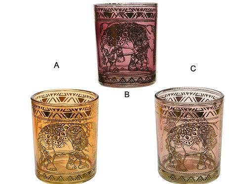 Glass Tealight with Henna Print