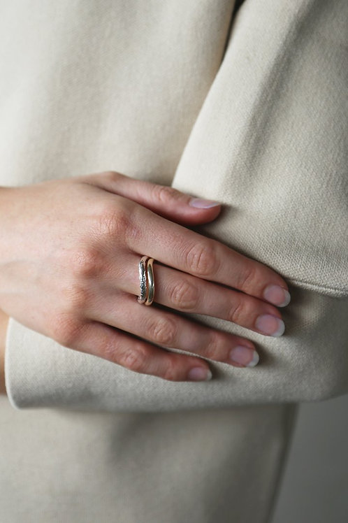 Palm Ring Silver/Gold Set/2