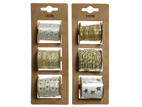 Cotton ribbon 6 rolls assorted