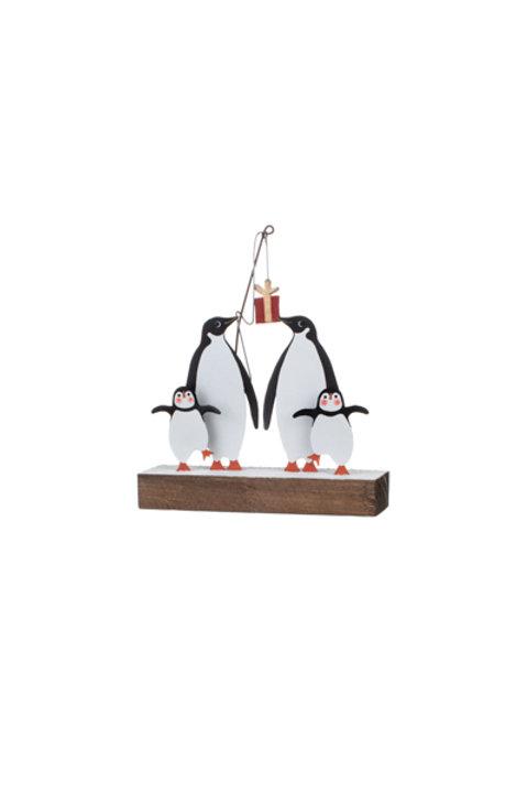 Shoeless Joe Penguins with present on block