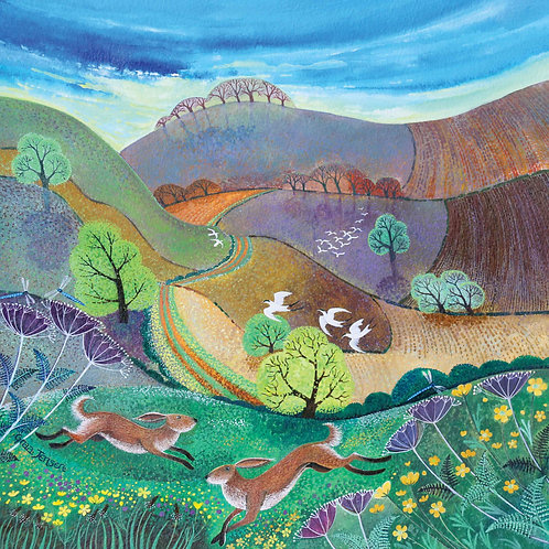 Dry Red Card -Downland Hares