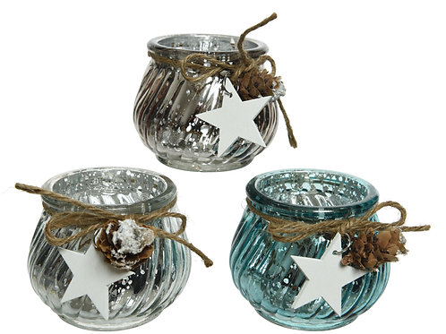 Glass Tealight with Stars