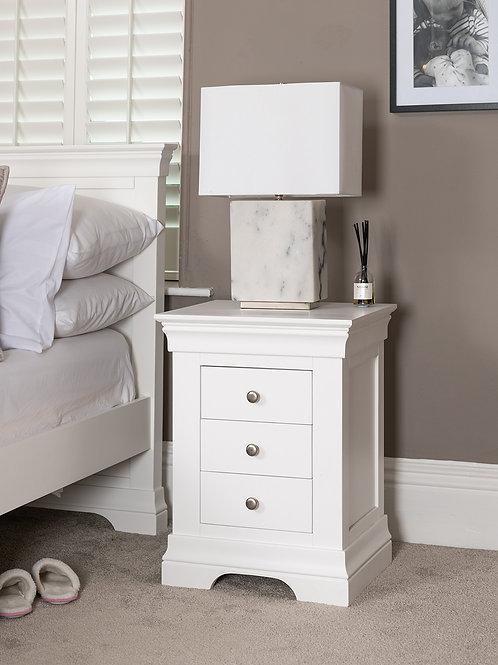 White 3 Drawer Bedside
