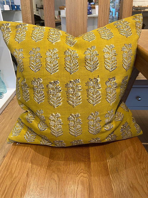 Block Print Cushion - Saffron Yellow